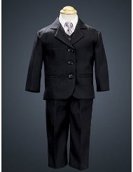 5 Piece Black Suit with Shirt, Vest, and Tie