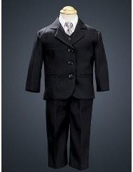 5 Piece Black Suit with Shirt, Vest, and Tie